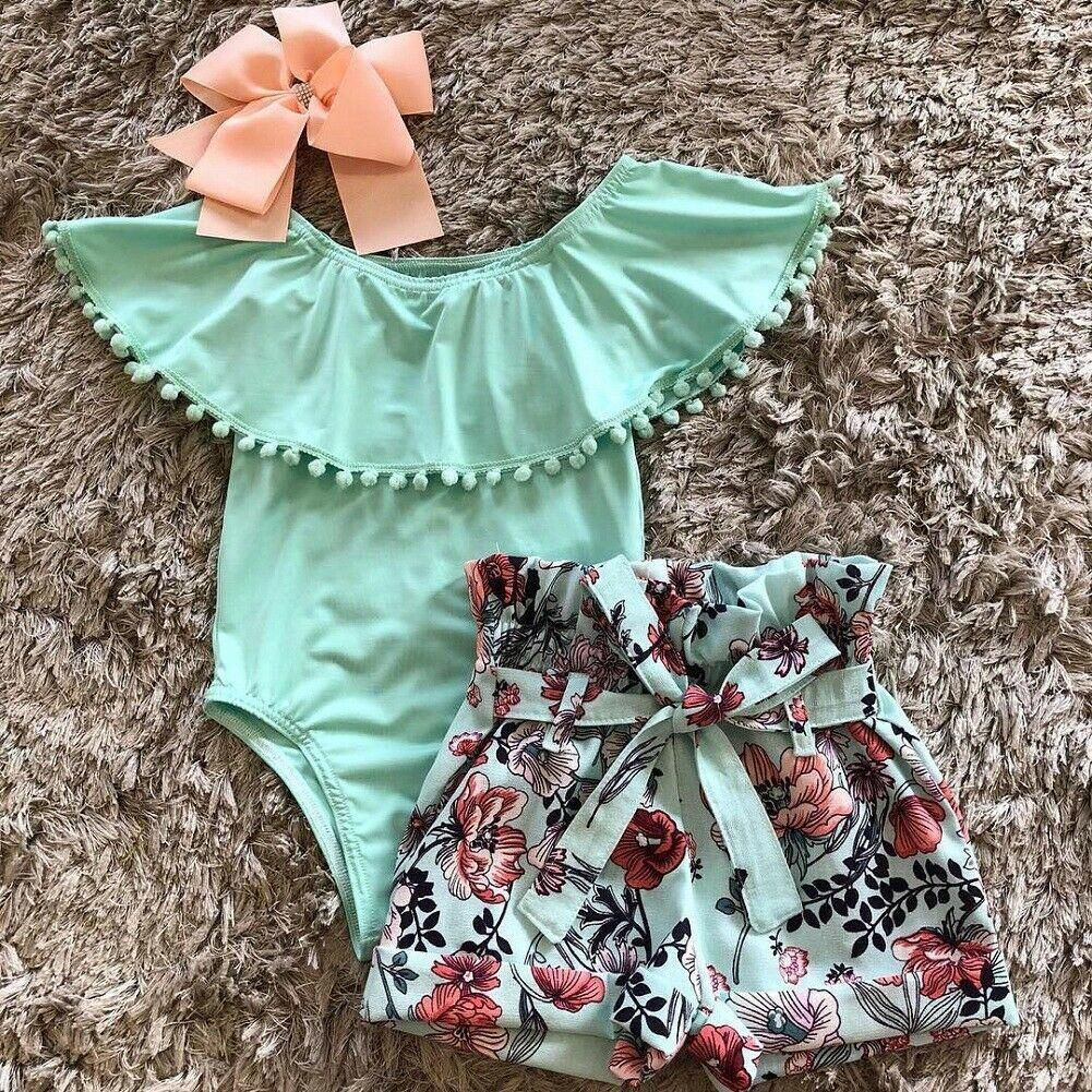 US Newborn Infant Baby Girl Floral Clothes Sleeveless Romper Summer Solid Outfit