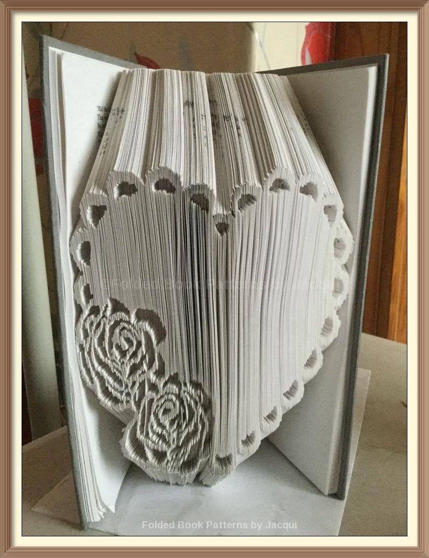 Rose Heart Cut and Fold Book Folding Pattern by JHBookFoldPatterns on Etsy