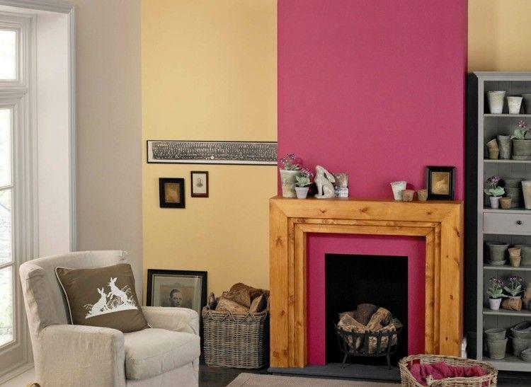 Moderne Wandgestaltung für das Wohnzimmer - Beeren-Nuance,Beige und ...