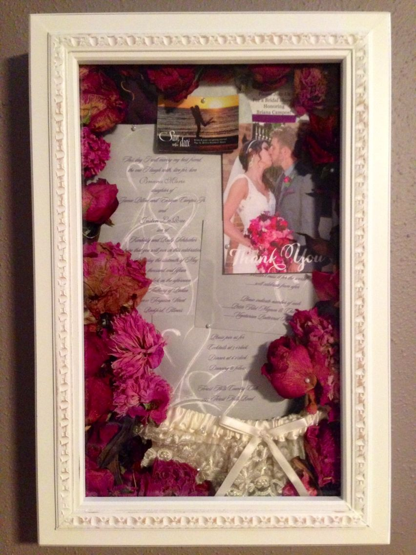 Love, love, love our wedding shadow box!!! My bouquet, our save the ...