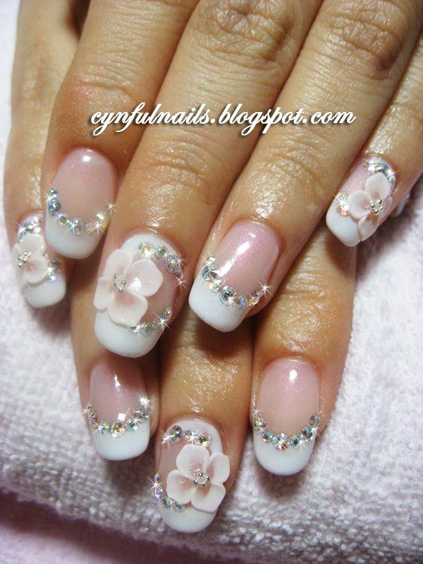 Bridal 3d Nail Art Favorites Pinterest Bridal Nails Wedding