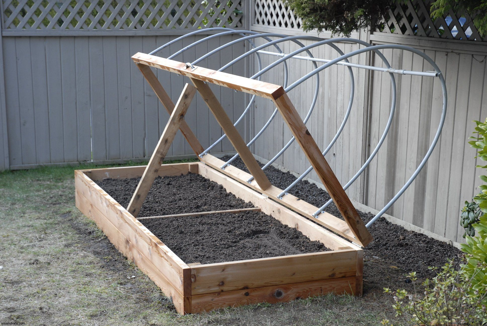 easy hoop house for planters Garden boxes raised, Raised