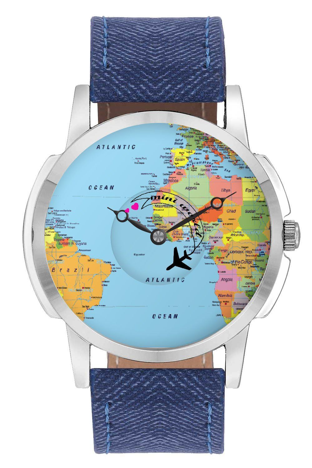 Travel watch airplane world map design leather strap casual wrist travel watch airplane world map design leather strap casual wrist watch online india gumiabroncs Choice Image