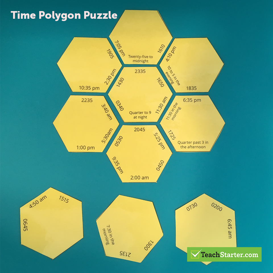 12 And 24 Hour Time Polygon Puzzle Teaching Resource Teach Starter Teaching Time Teaching Time Lessons [ 960 x 960 Pixel ]