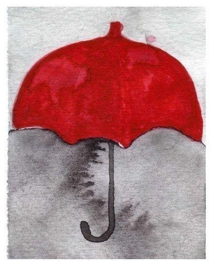 unter meinem roten regenschirm 5 x 7 aquarell rot und grau