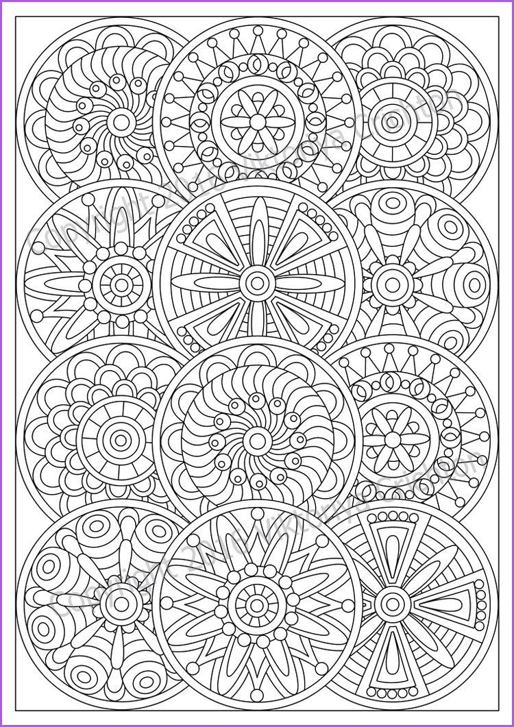 Mandala Coloring Page For Adult Pdf Doodle Zentangle Art Pattern