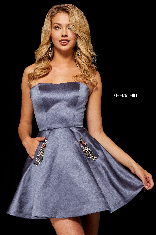 710f3b6a4db Gunmetal 2018 Short Prom Dresses Sherri Hill 52190 With Beaded Pockets. Sherri  Hill 52190