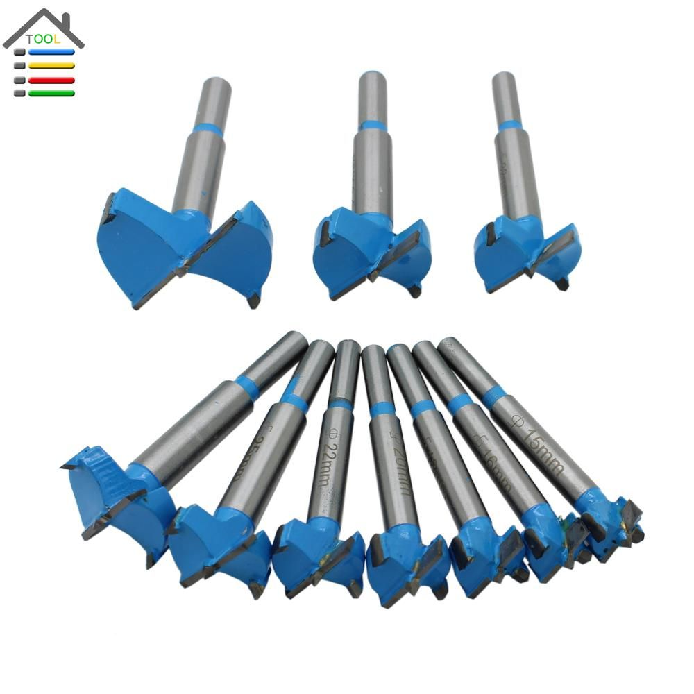 10pc 15-50mm Forstner Bit Auger Drill Bits Set Wood Hole Saw Woodworking Wooden Cutter Drilling for Hinge Window