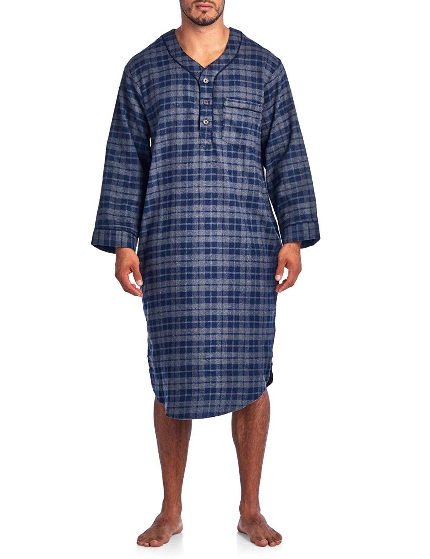 ede9acc416 Mens Flannel Plaid Long Sleep Shirt Henley Nightshirt - Charcoal ...