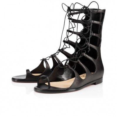 8665caaaf1eb Christian Louboutin sparty flat Black Leather Womens Flats Sanda ...