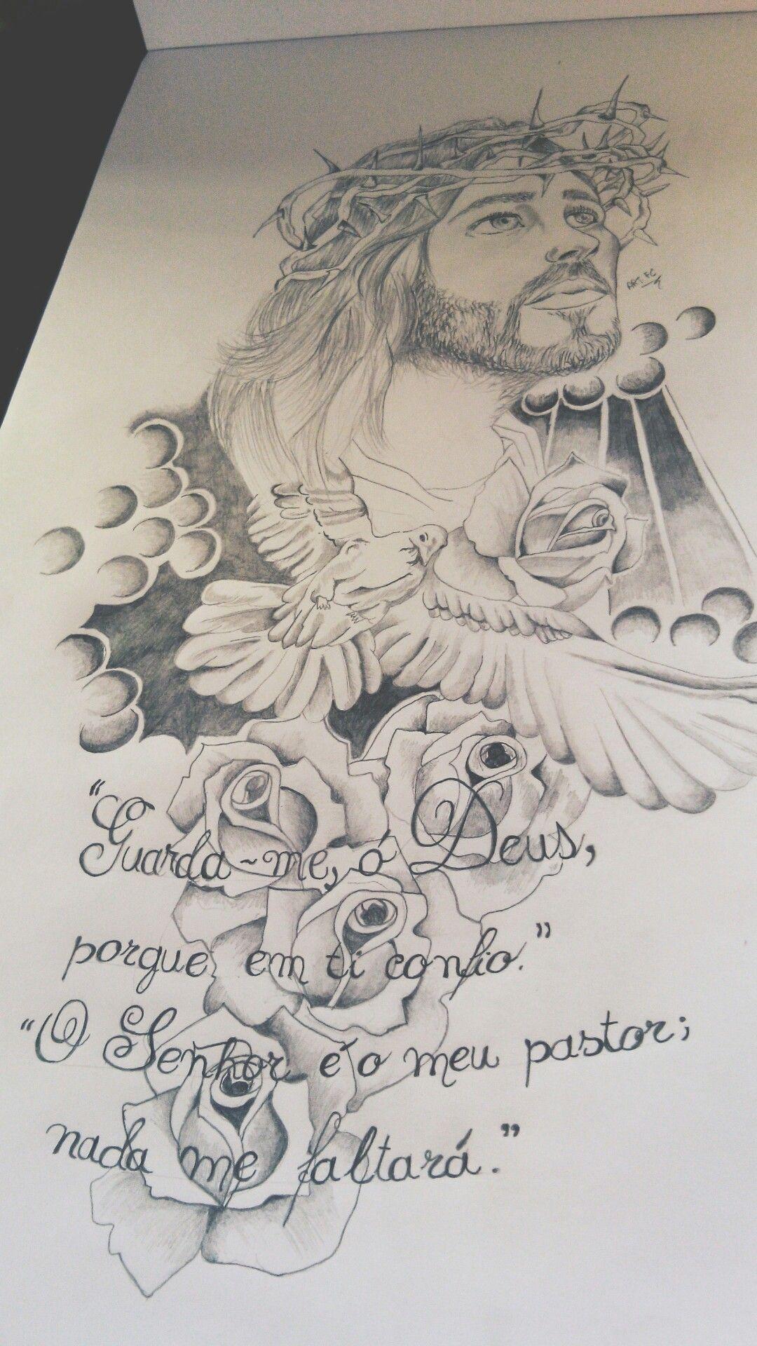 Desenho Tattoo Jesus Cristo rosas pomba branca | desenho