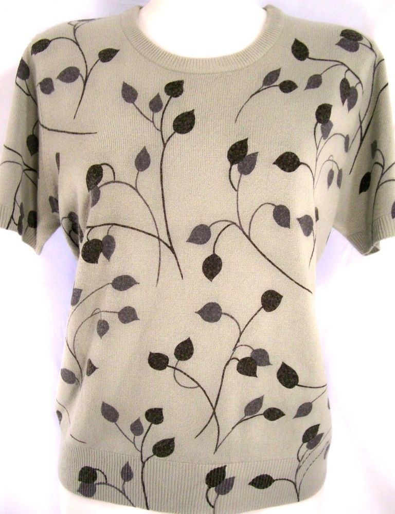 M~Sag Harbor Leaf Print Knit TOP~Gray~Sweater~Work~Casual~Rockabilly~Retro~Pinup