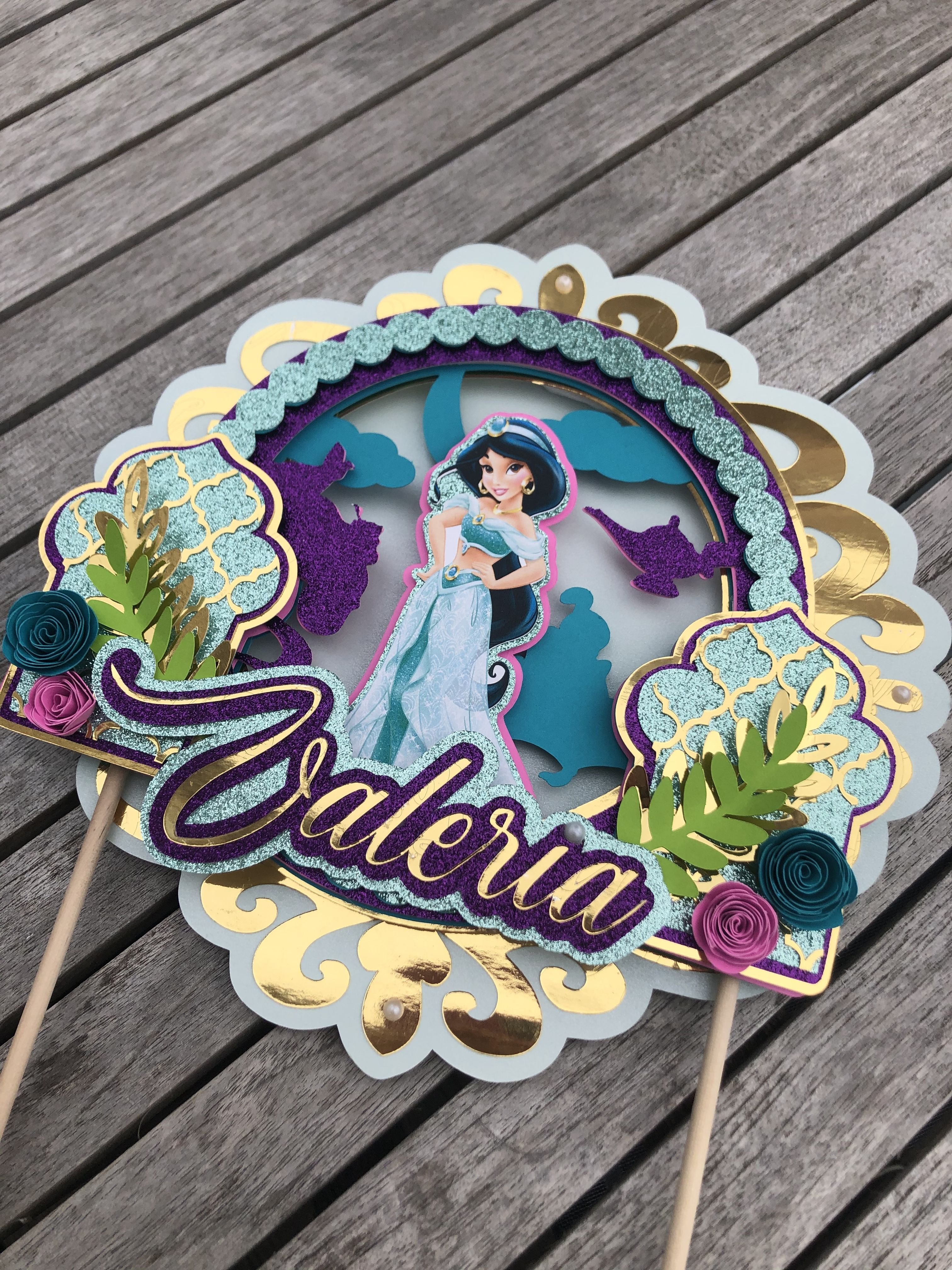 Princess Jasmine Cake Topper, 3D effect, Name.