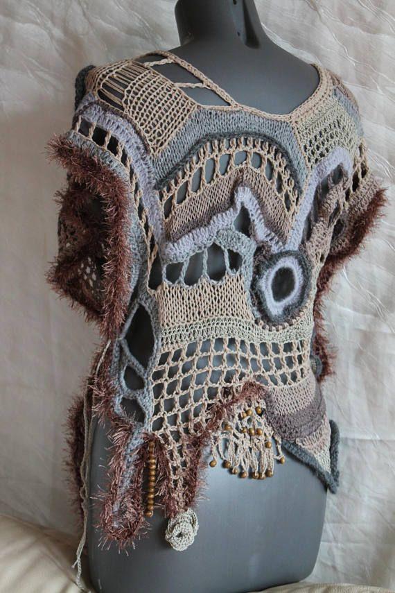 Crochet sweater, Boho Chic Hippie Chunky Cropped Freeform Crochet ...