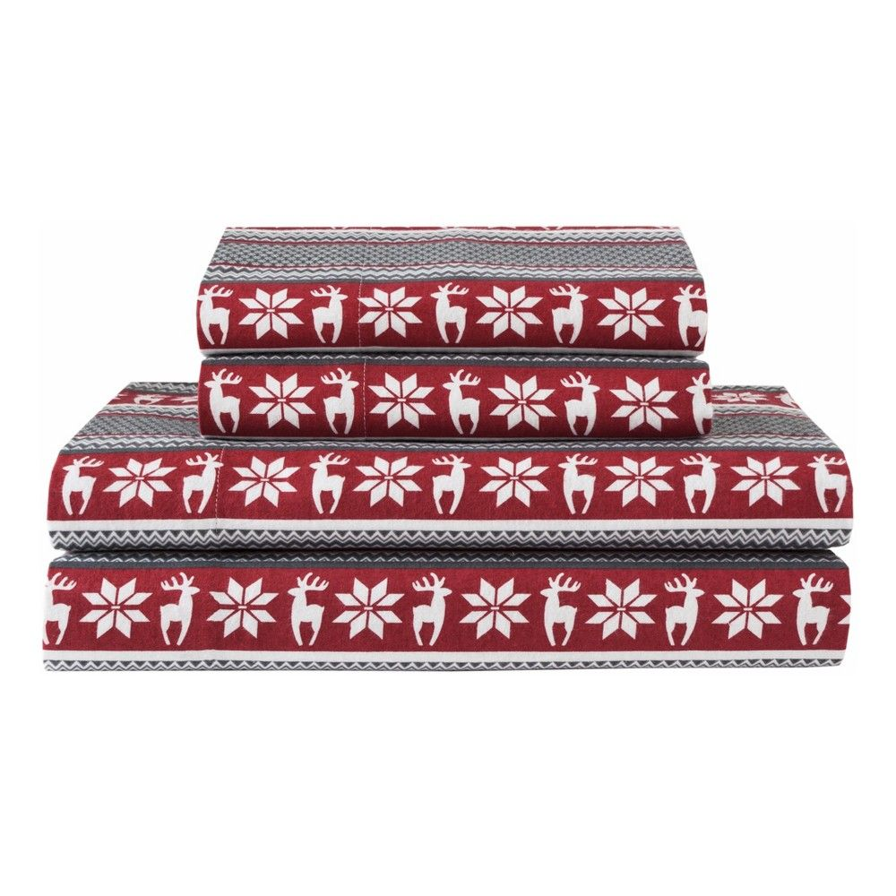 Winter Nights Cotton Flannel Sheet Set California King Red Elite