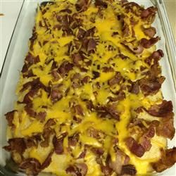 Pancake Casserole Love this recipe! I added some bacon inside the casserole, too and that turned out awesome! #pancakecasserole