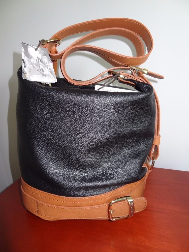 New Valentina Black Brown Italian Leather Bucket Style Bag Purse Satchel