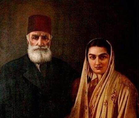 آخر الخلفاء العثمانيين السلطان عبد المجيد الثاني مع ابنته الاميرة خيرية عائشة درالشهوار 1931 Fotograf Tarih Sultan