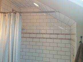 Great Ideas For Attic Bath Remodel Slanted Shower Curtain Rod And Double Doors To Clear Ceiling Attic Shower Attic Renovation Attic Design