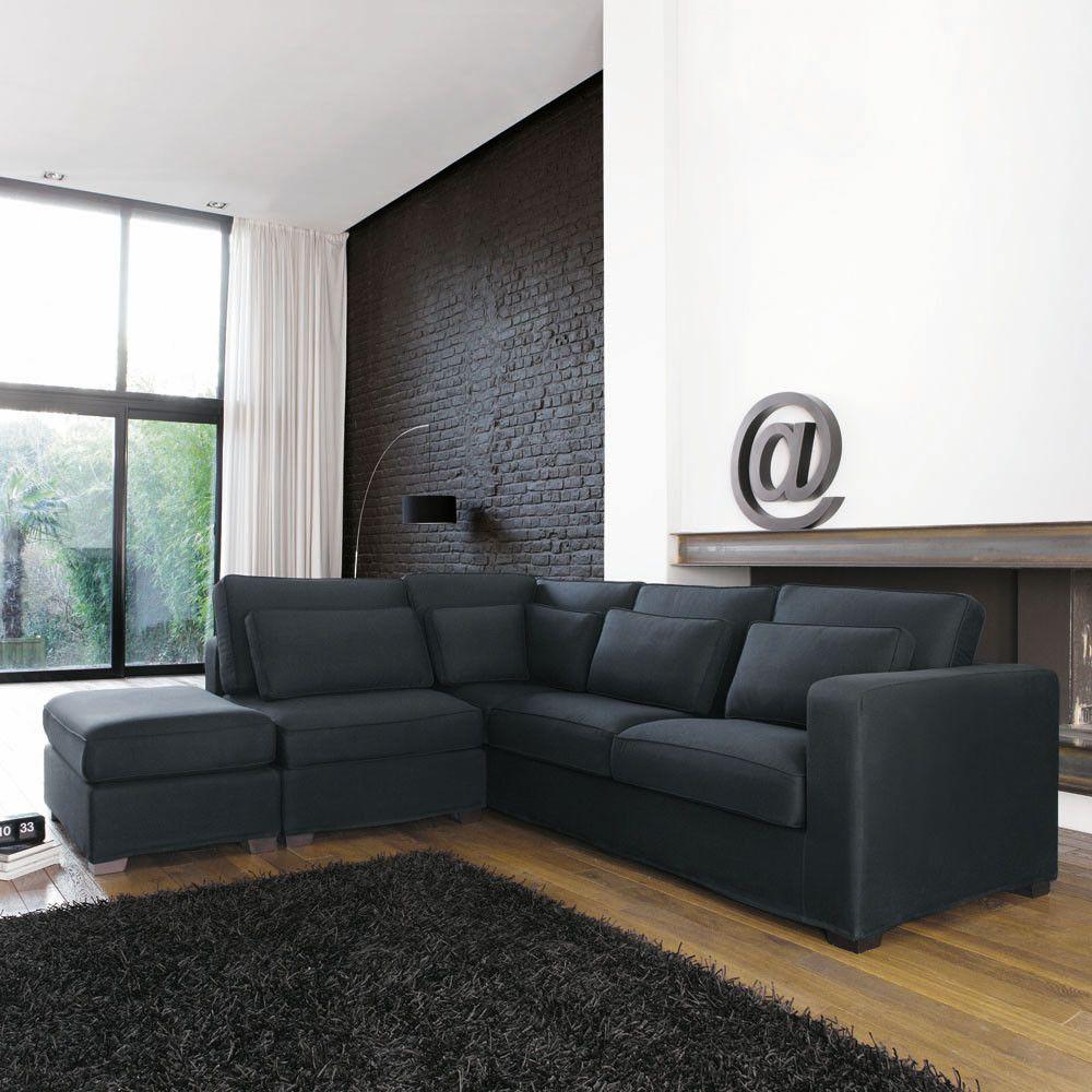 Canape D Angle 5 Places En Coton Gris Ardoise Maisons Du Monde Sofa Esquinero Sofas En Esquina Esquineros