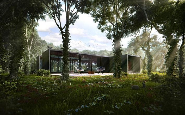 Herunterladen Hintergrundbild Haus Im Wald, Außen, Modernes Design Der  Häuser, Glas Wände