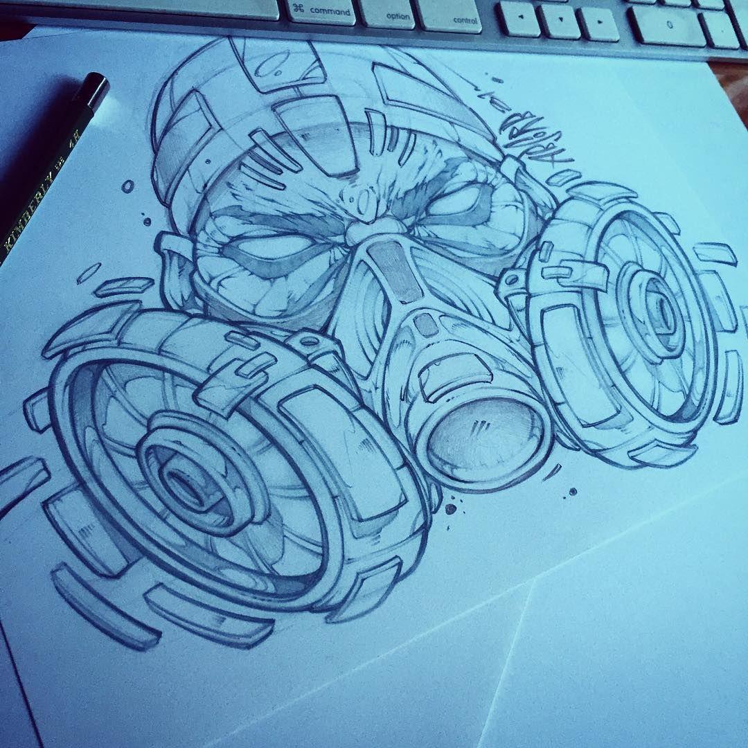 Respirator mask absorb81 art graffiti tattoo comic pencil sketch hiphop skate illustration artist