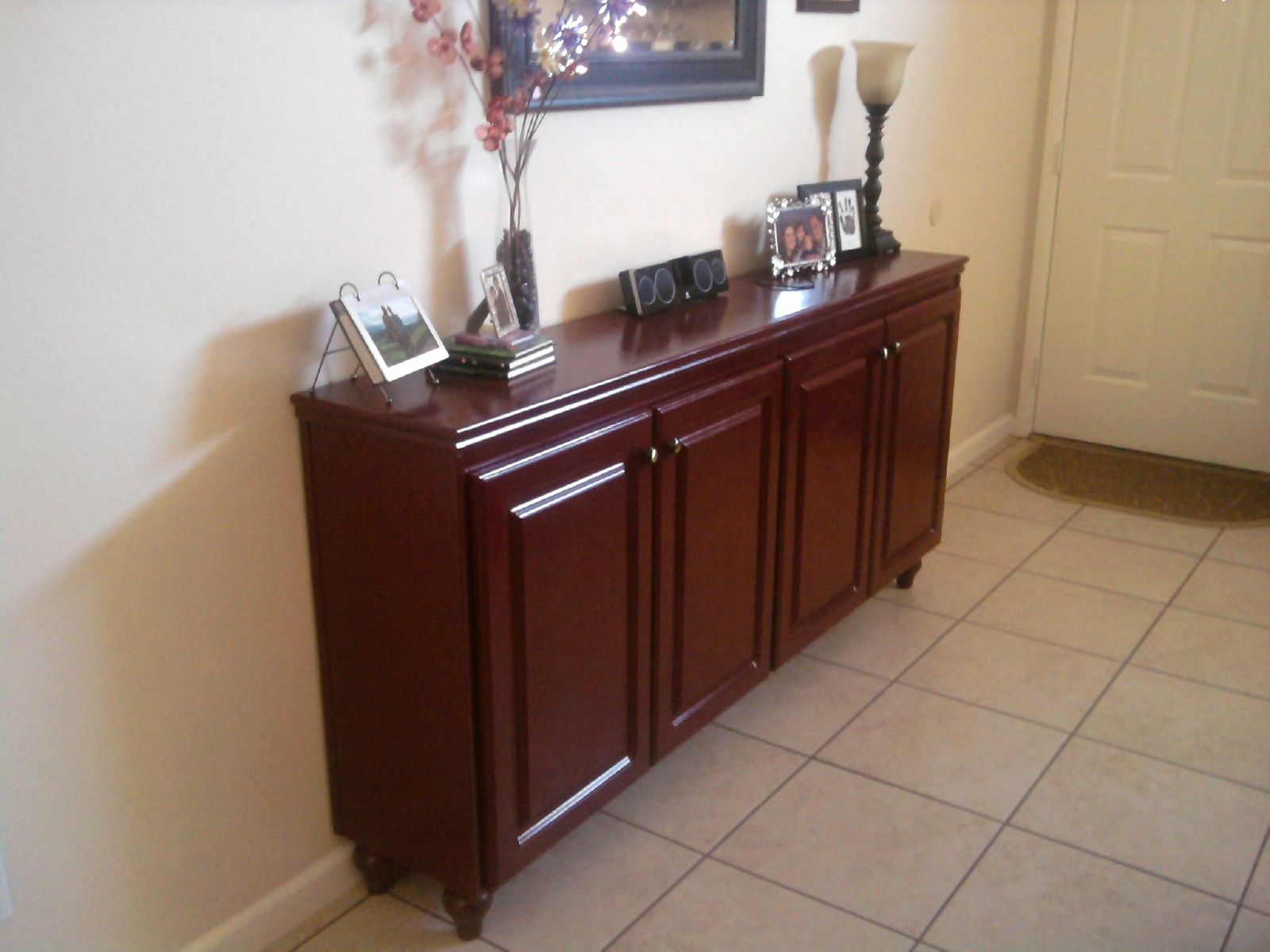 Diy entry table made from old kitchen cabinets building and