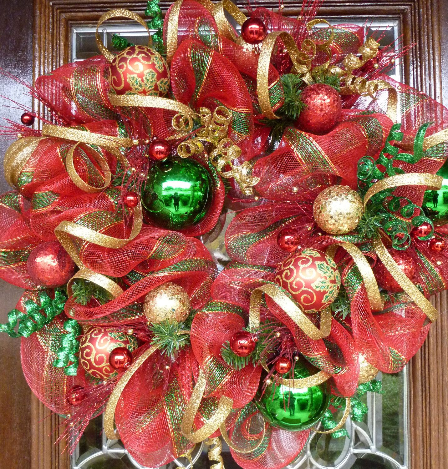 Red gold and green deco mesh christmas wreath wreaths greenery mesh christmas wreaths request a custom order and have something made just for you solutioingenieria Gallery