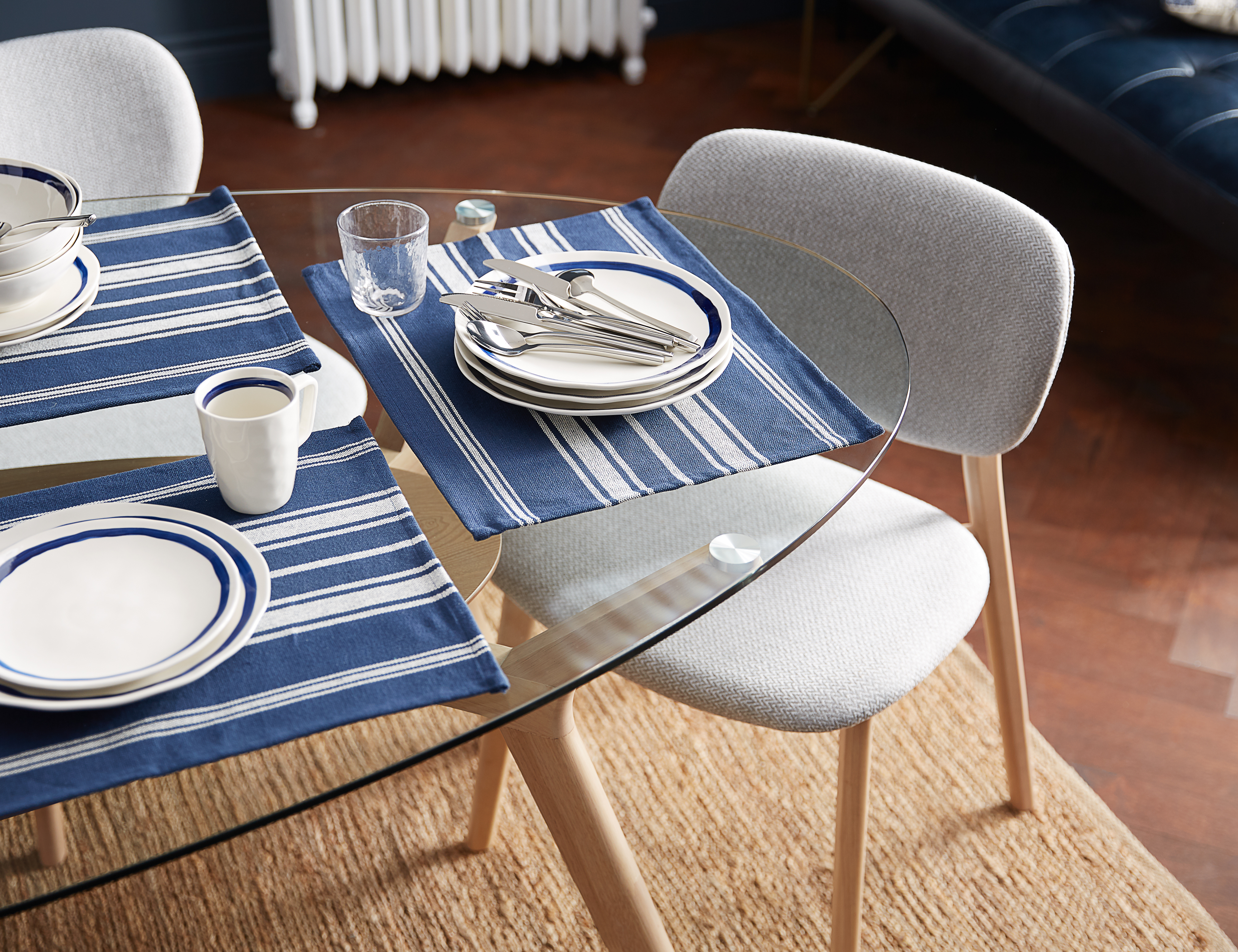Astonishing Blue And White Placemat 36Cm X 46Cm Structube Linea In Lamtechconsult Wood Chair Design Ideas Lamtechconsultcom