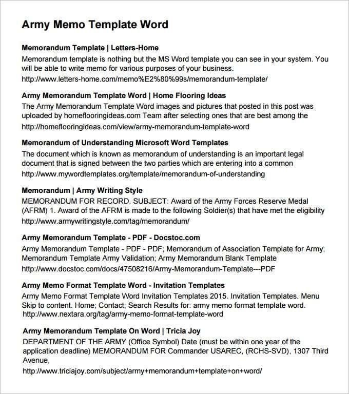 Army Memorandum Template 5 Useful Templates