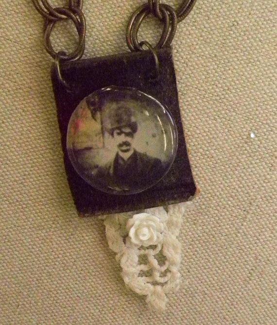 SOLD    Assemblage leather and lace with neo victorian by chicster, $25.00