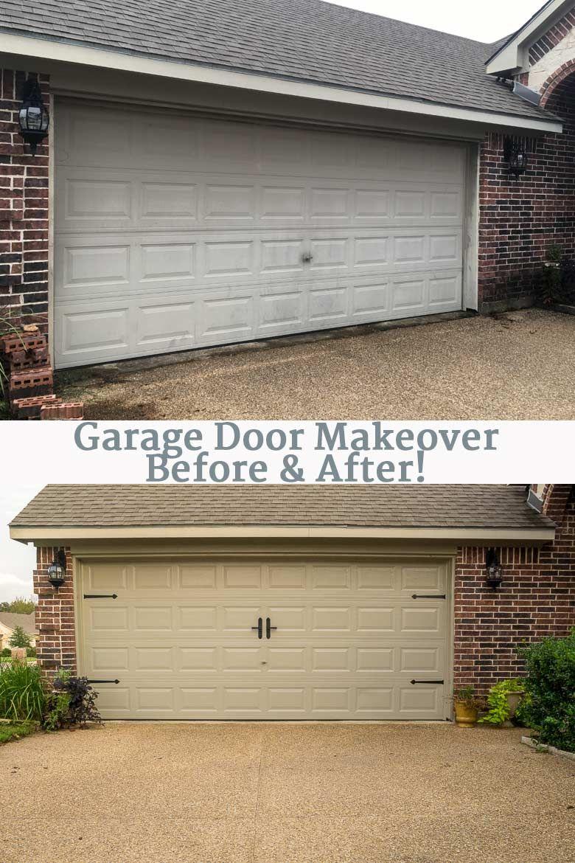 Diy Garage Door Makeover With Decorative Hardware Major Hoff Takes A Wife Family Recipes Travel Inspiration Diy Garage Door Garage Door Makeover Garage Doors