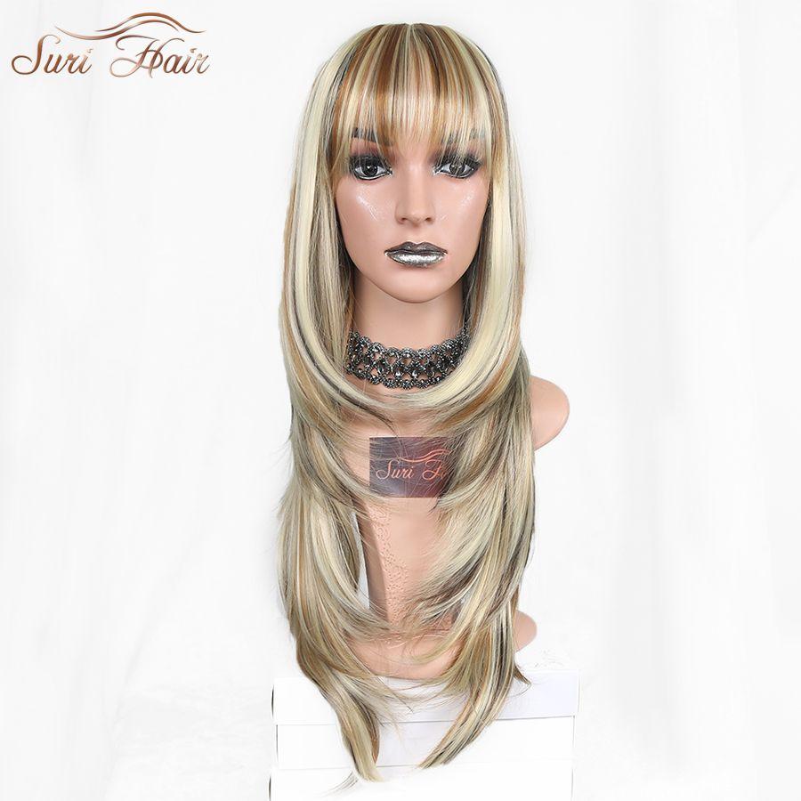 Suri Hair Blonde Mix Color Wigs For Black Women Long Wavy Heat