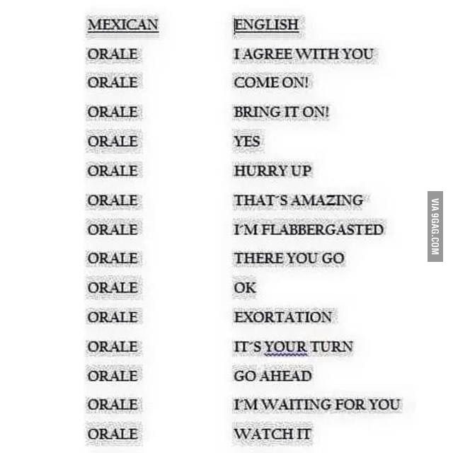 Here In Mexico Our Multi Meaning Word Is Orale Learn Another Language Learning Spanish Learn Spanish Bucket List