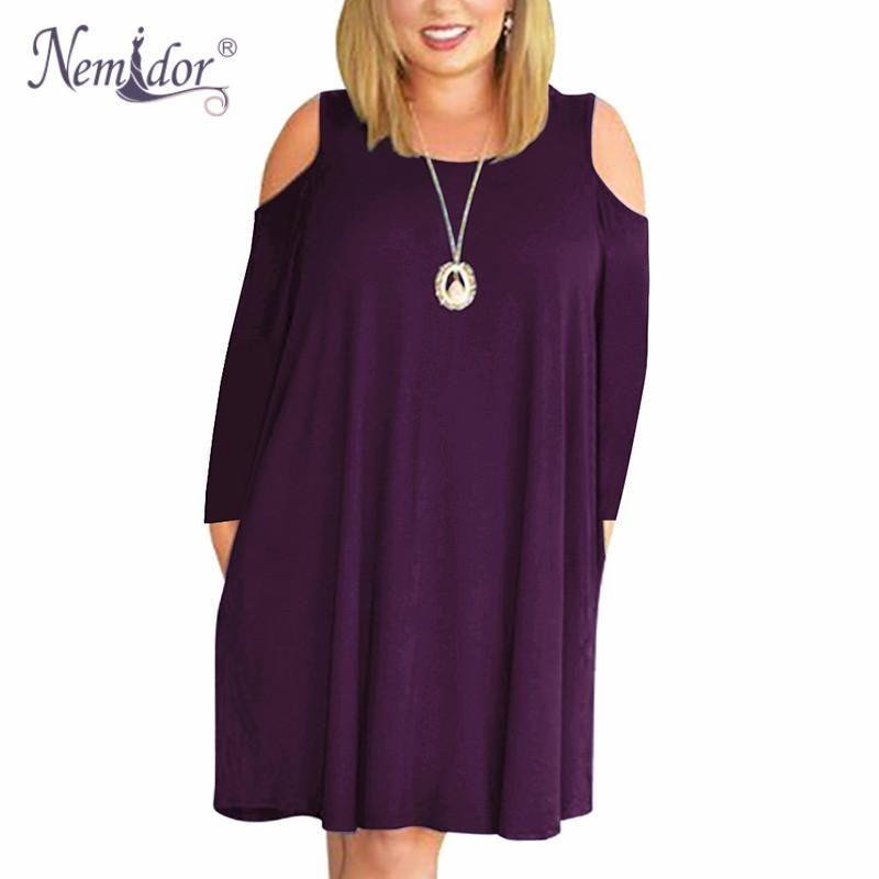 9c470790199 Nemidor Women Casual O-neck Off The Shoulder Midi Plus Size Dress Long  Sleeve Vintage Solid Loose ...