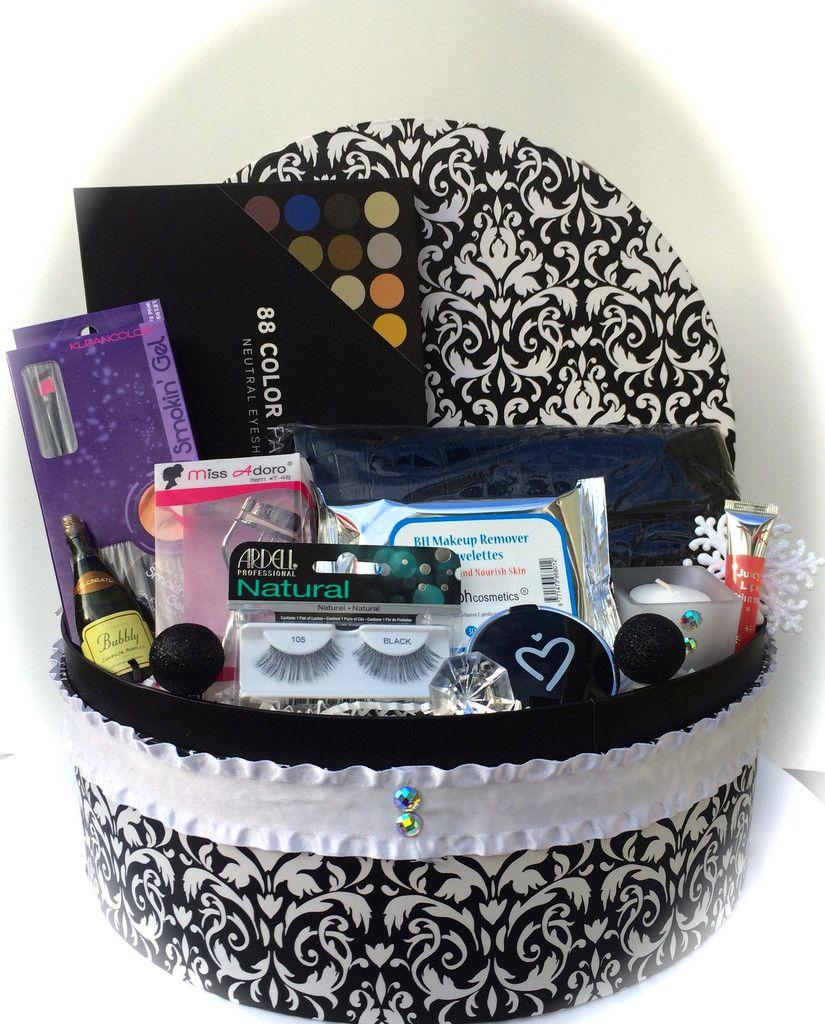 Large Damask Makeup Gift Basket