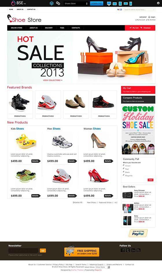 Shoes store Template \u2013 Free Responsive Magento themes CMS Magento
