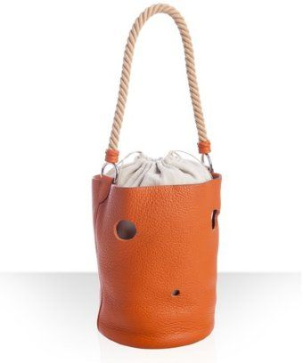 483500960f Hermes pumpkin pebbled leather hole cutout rope handle tote bag ...