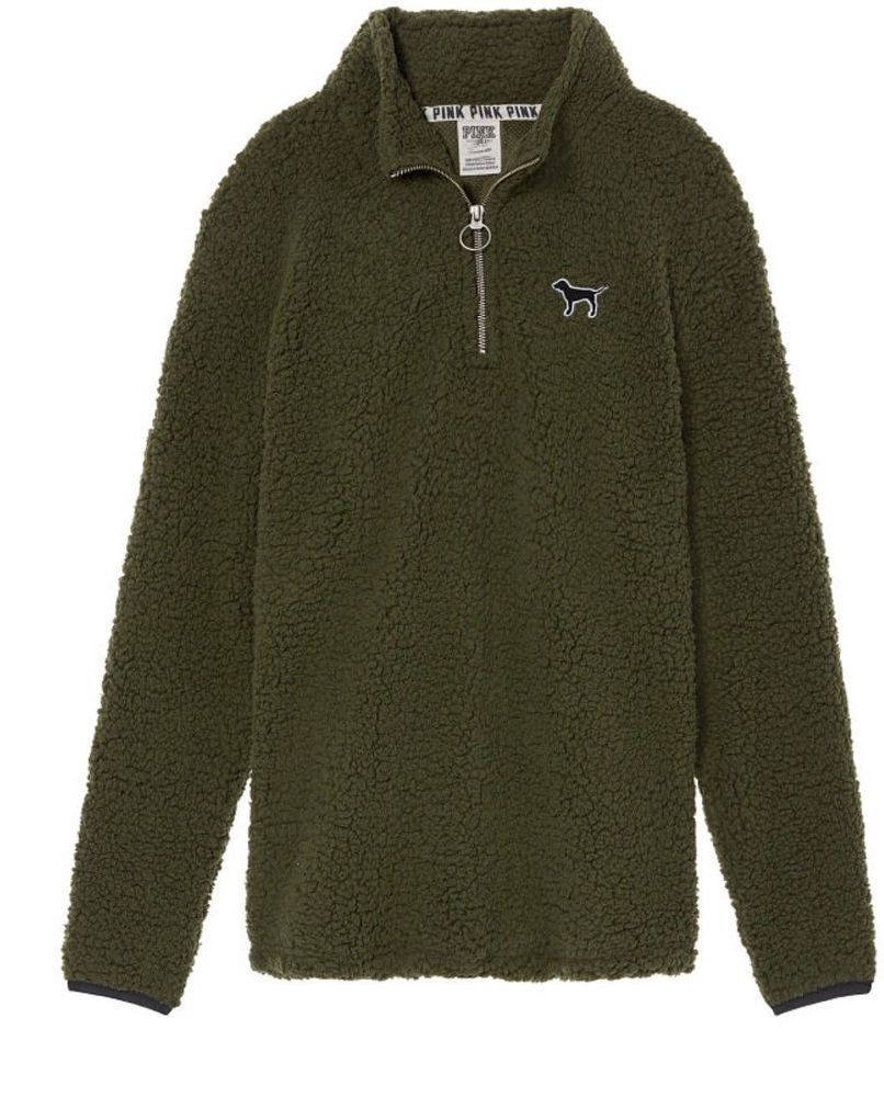bca173689a4 Victoria's Secret Pink Sherpa Boyfriend Quarter Zip Jacket Sweater Olive  Green M | eBay