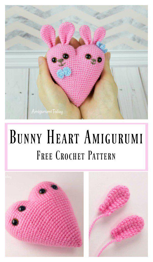 Bunny Heart Amigurumi Free Crochet Pattern | Corazones de crochet ...
