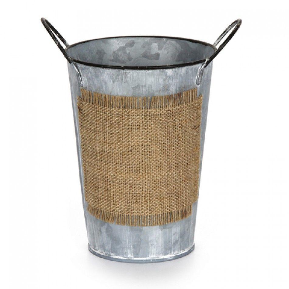 Large burlap galvanized metal bucket planter 327 6613 003 for Metal bucket planter