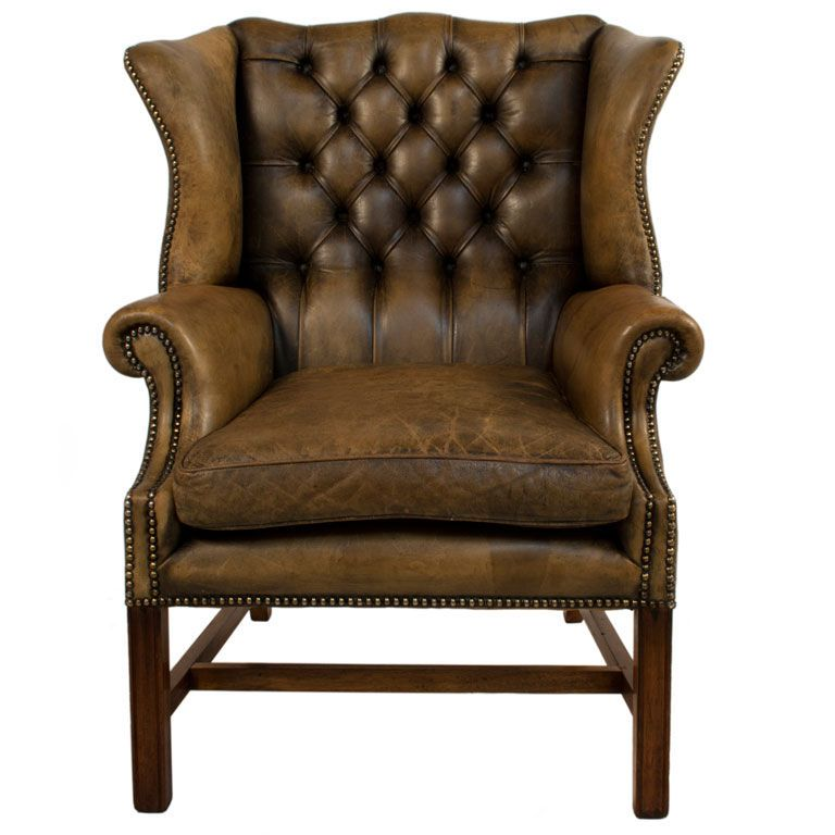 Ordinaire Tufted Leather Wingback Chair, Denmark, C.1940