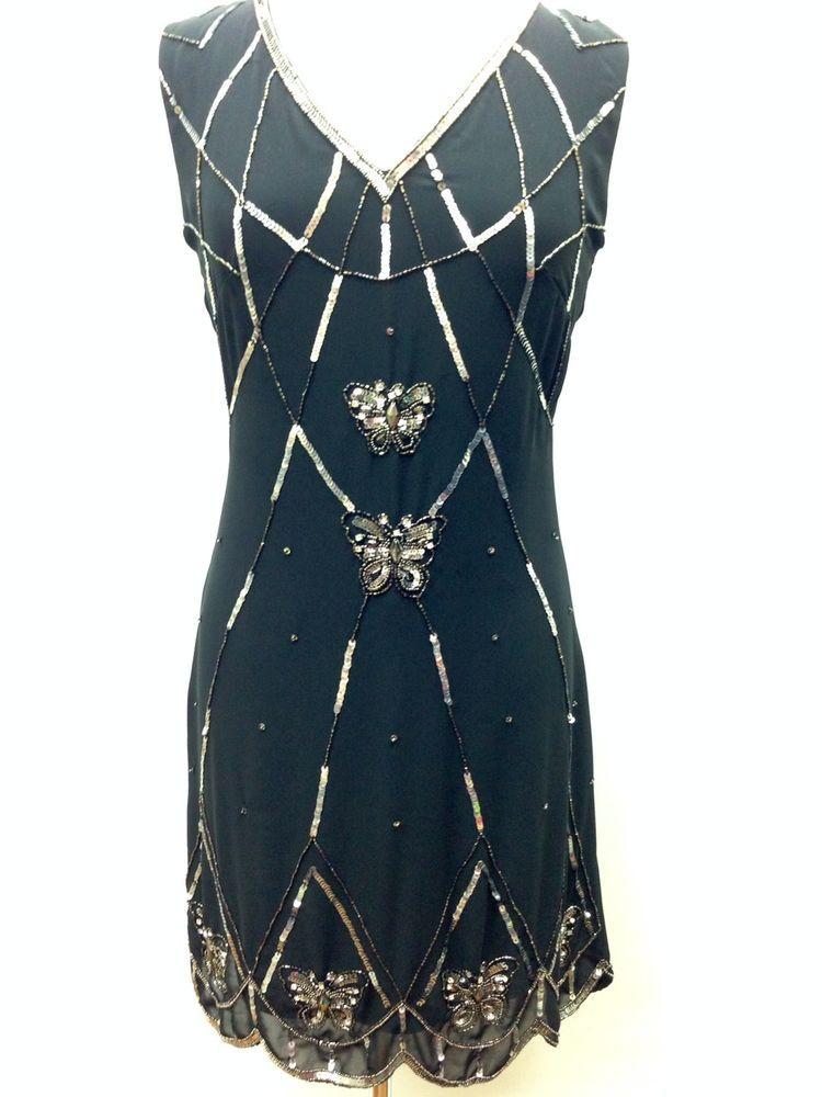 930f7280e5eb BNWT Ladies BLACK Dress Tunic Top Evening 1920's Shift Dress Size 8 10 12  14 #