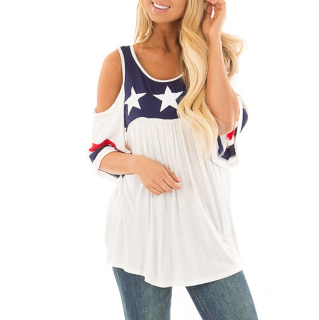 202b4ceedcc2d Tops New Arrival Women Casual Plus Size Patriotic Printed Cold Shoulder  American Striped TShirt Duseedik White XXXL     Details can be found by  clicking on ...