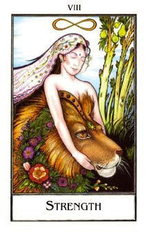 March 29 Tarot Card: Strength! (Palladini deck) Courage reigns over fear now; you are stronger than you realize