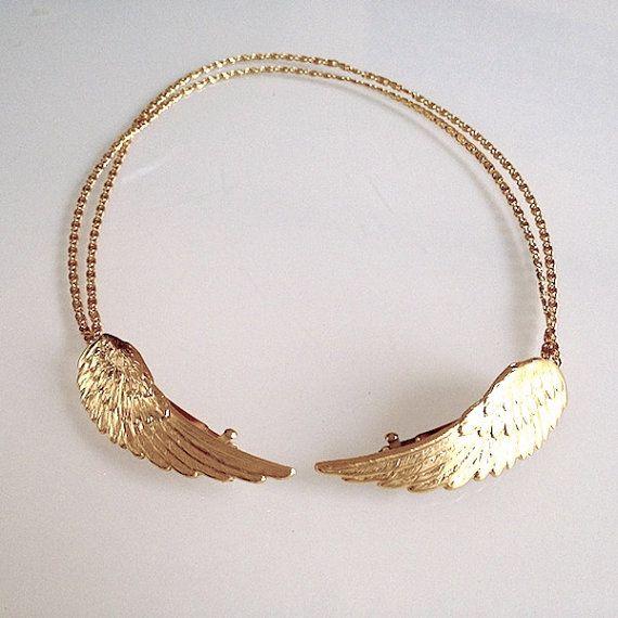 Big Angel Wings Hair Chain, Bridal Hair Accessory, Gold Hair Chain, Wedding Hair Jewellery, Fairy Hair Accessories, Gold Hair Wreath #hairchains