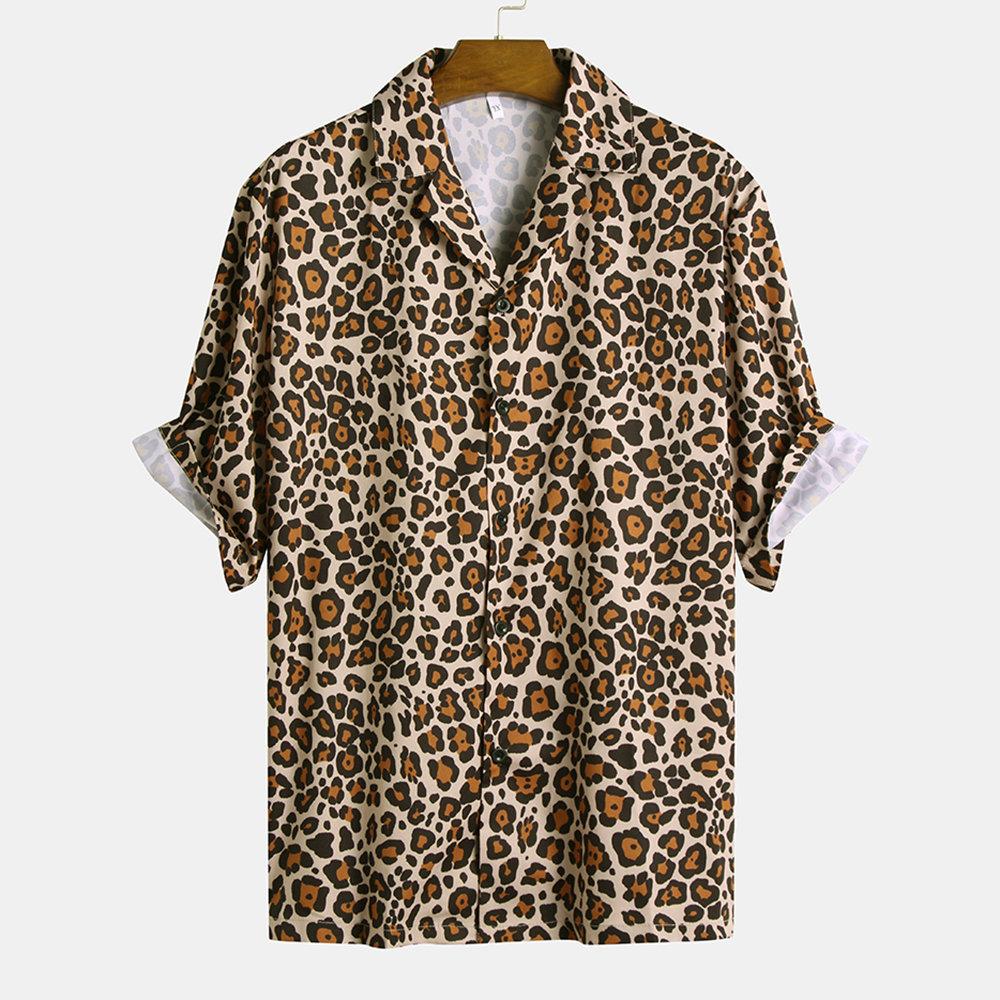 Mens Leopard Printed Turn Down Collar Half Sleeve Loose Casual Shirts Loose Casual Shirt Casual Shirts Leopard Print Shirt [ 1000 x 1000 Pixel ]