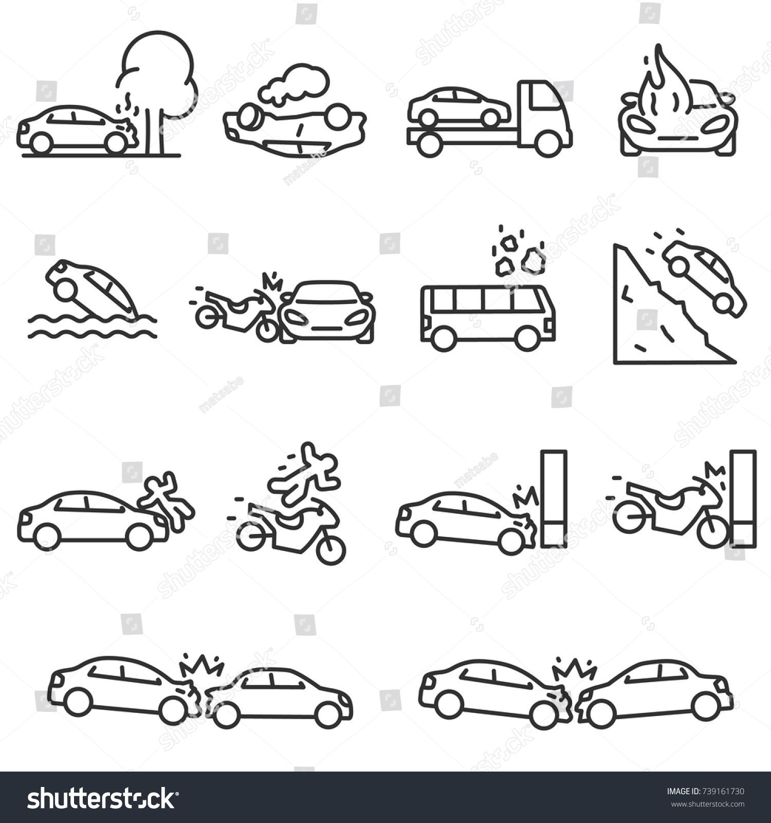 Road Accident Icon Set Accidents Involving A Passenger Car Motorcycle And Bus Linear Design Line With Editable Stroke Sponsored Library Icon Icon Set Icon