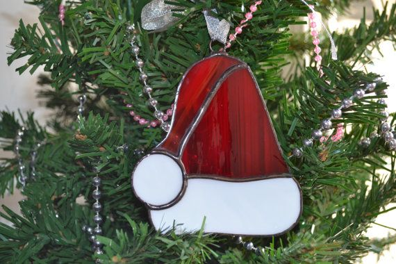 Set of 3 Stained Glass Christmas Decoration, Ornament, Heart, Round