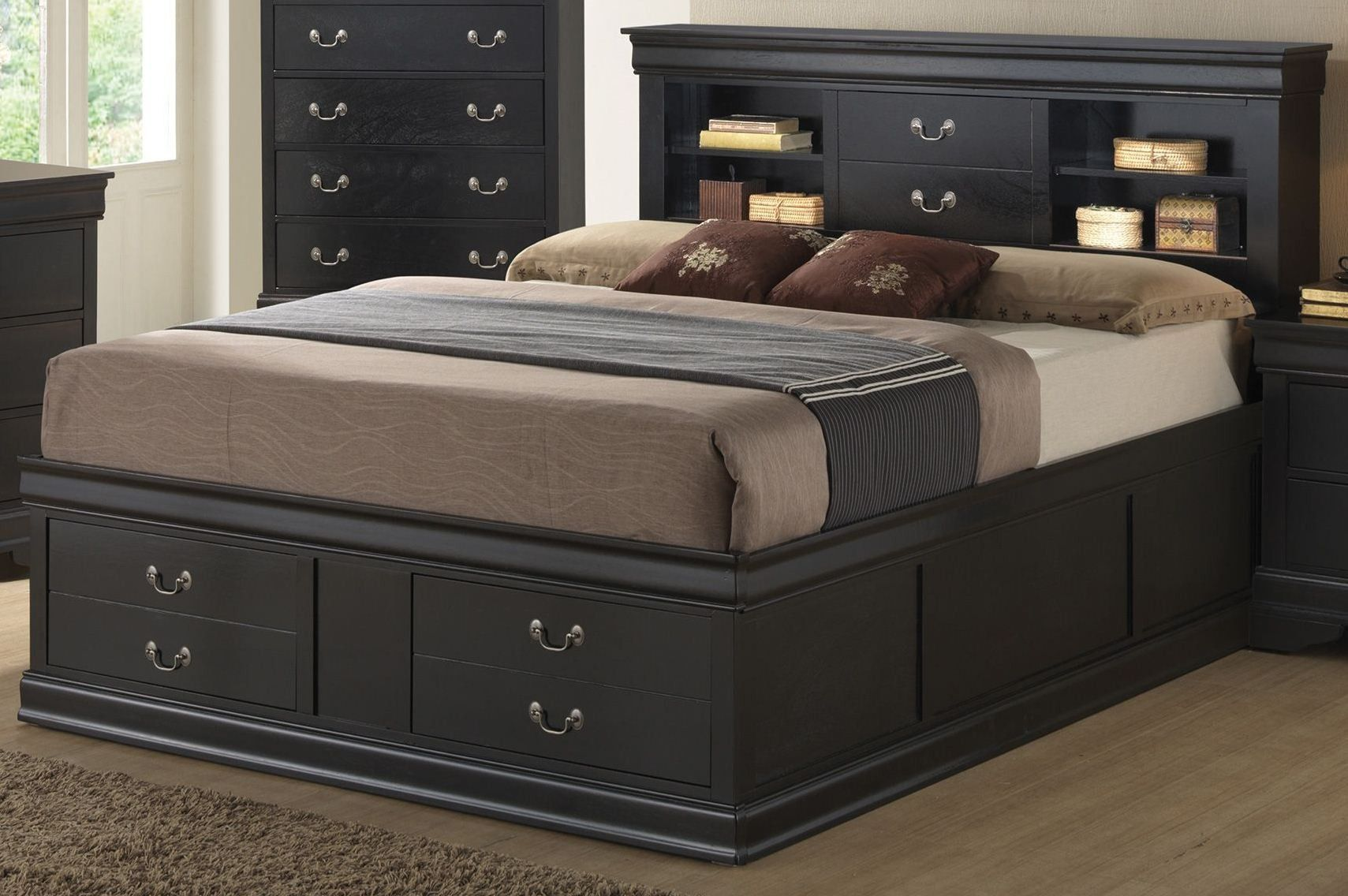 Louis Philippe King Saverage Storage Bed Bed Frame Design